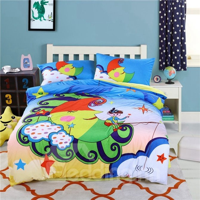 Cartoon Moon with Boy Pattern Kids Polyester 4-Piece Duvet Cover Sets