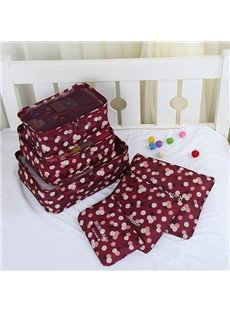 6Pcs Claret Flora Multi-Functional Waterproof Travel Storage Bags Luggage Organizers