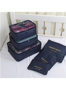 6Pcs Navy Blue Polka Dot Multi-Functional Waterproof Travel Storage Bags Luggage Organizers