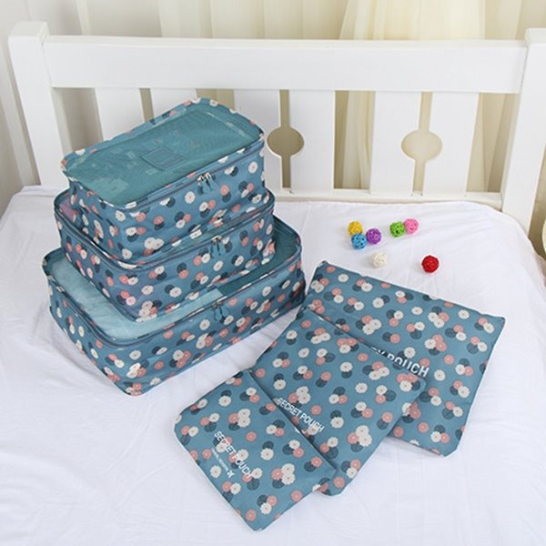 6pcs Light Blue Floral Multi-functional Waterproof Travel Storage Bags Luggage Organizers