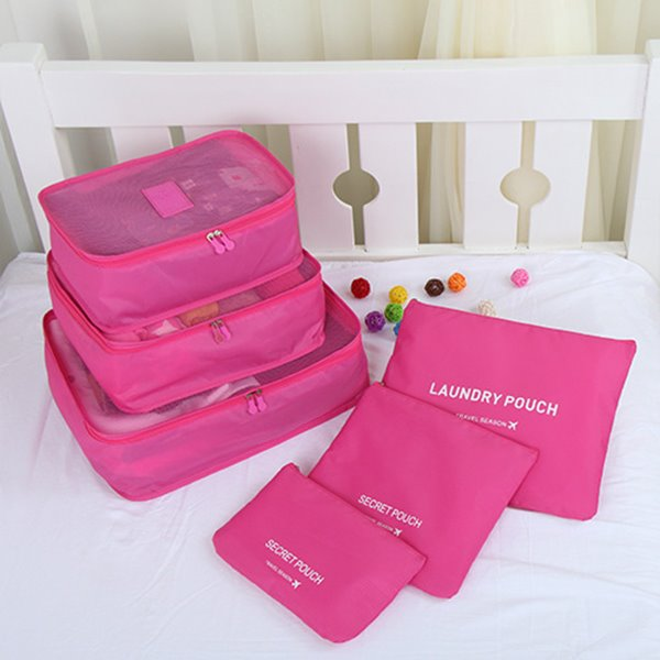 6pcs Rose Color Thickening Multi-functional Waterproof Travel Storage Bags Luggage Organizers