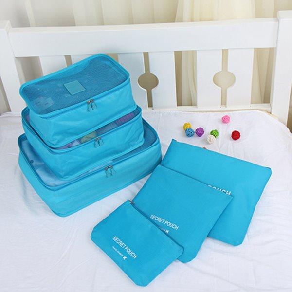 6pcs Light Blue Thickening Multi-functional Waterproof Travel Storage Bags Luggage Organizers