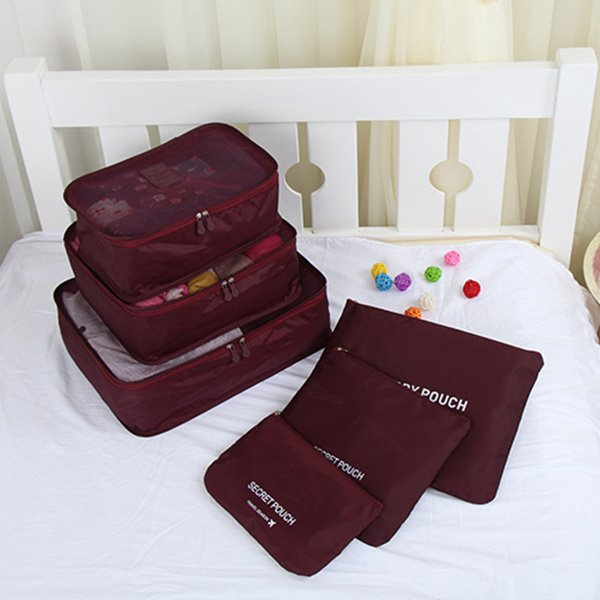 6pcs Claret Thickening Multi-functional Waterproof Travel Storage Bags Luggage Organizers