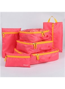Pink Multi-Functional 6Pcs Travel Luggage Organizers with Shoes Bag and Makeup bag