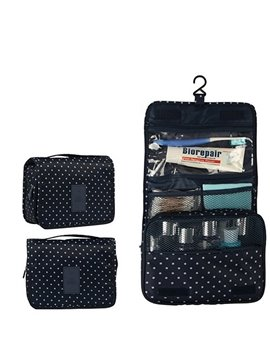 Dark Blue Hanging Toiletry Bag Cosmetic and Makeup Travel Organizer