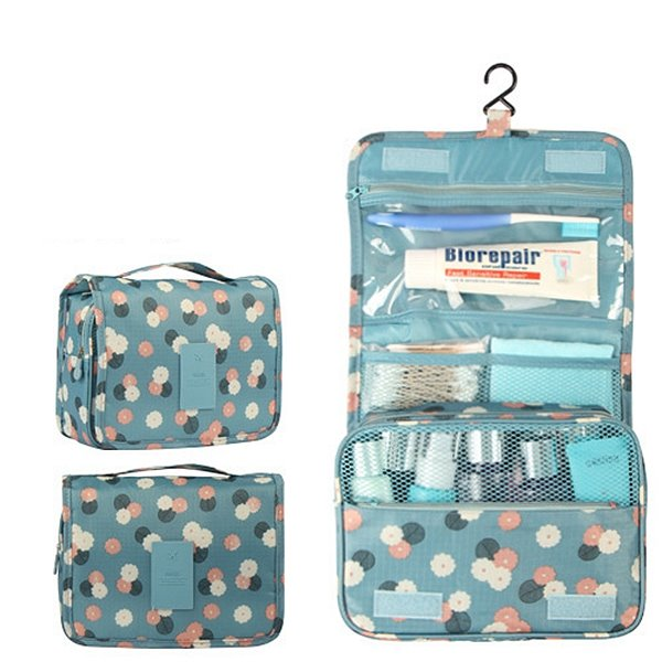 Blue Daisy Hanging Toiletry Bag Cosmetic Makeup Travel