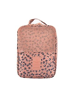 Pink Leopard Point Printing Travel Waterproof Shoe Bag Organizer Storage for 3 Pairs of Shoes
