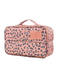 Pink Leopard Point Multi-Functional Travel Underwear and Socks Organizer Bag