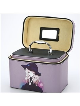 Two Pieces Lovely Girls Printing Large Capacity Zippered Cosmetic Boxes with Mirror Black