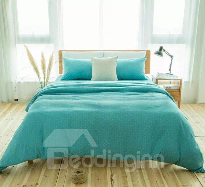 Fresh Turquoise 4-Piece Cotton Duvet Cover Sets