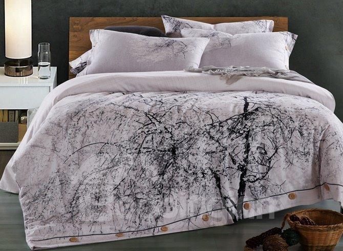 Chic Lifelike Tree Print 4-Piece Cotton Duvet Cover Sets