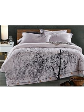 Chic Lifelike Tree Print 4-Piece Cotton Duvet Cover Sets