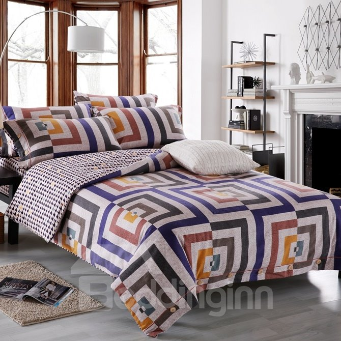 Epic Design Neutral Style 4-Piece Cotton Duvet Cover Sets
