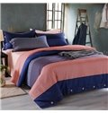 Simple Color Block 100% Cotton 4-Piece Duvet Cover Sets