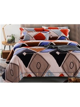 Chic Geometrical Pattern Print 4-Piece Cotton Duvet Cover Sets