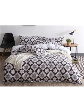 Urban Gray 4-Piece Cotton Duvet Cover Sets