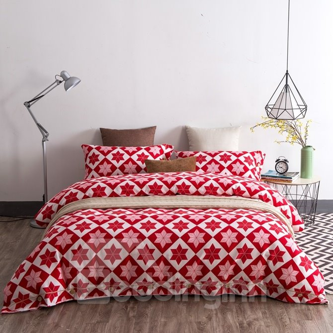Minimalist Style Vibrant Red Cotton 4-Piece Duvet Cover Sets