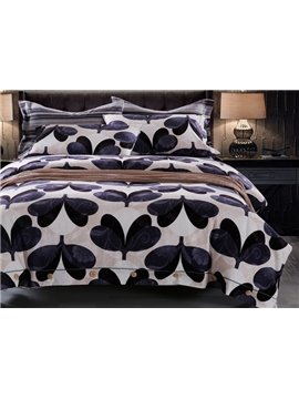 Elegant Gingko Leaves Print 4-Piece Cotton Duvet Cover Sets