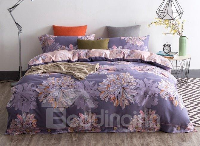 Noble Purple Flower Sketch Print 4-Piece Cotton Duvet Cover Sets