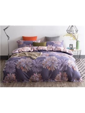 Noble Purple Flower Sketch Print 4-Piece Cotton Duvet Cover Sets