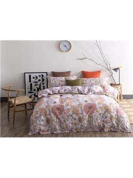 Pastoral Style Flower Sketch Print 4-Piece Cotton Duvet Cover Sets