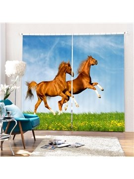 Two Horses Jumping Printing 3D Curtain