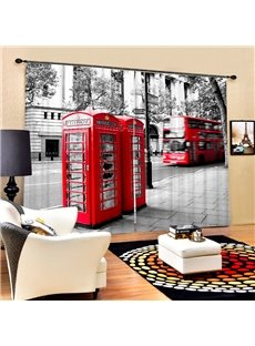 Retro Red Telephone Box and Bus Printing 3D Curtain