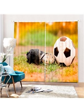 A Soccer Shoes near the Soccer in the Dusk Printing 3D Curtain