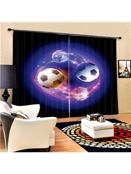 Two Magic Footballs Printing 3D Curtain