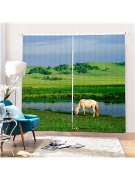 Sheep Eating Grass by the Lake Printing 3D Curtain
