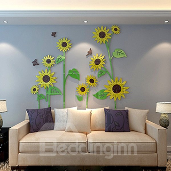 Three-dimensional Acrylic Sunflowers Pattern Decorative 3D Wall Stickers