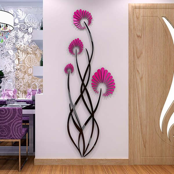 elegant acrylic modern design flower pattern home decorative 3d wall stickers. Black Bedroom Furniture Sets. Home Design Ideas