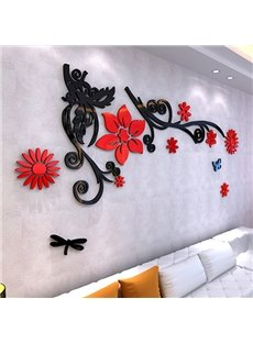Delicate Acrylic Three-dimensional Flower Pattern 3D Wall Stickers