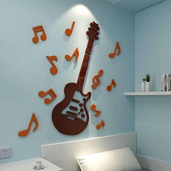 Fashion Design Acrylic Guitar and Notes Pattern 4 Colors 3D Wall Stickers