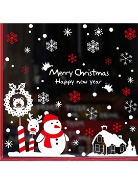 Cute Snowman and Snowflake Pattern Christmas Decoration Wall Stickers