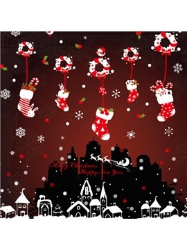 Cute Christmas Decorative Stocking and Snowflake Pattern Wall Stickers