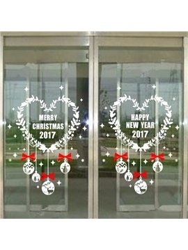White and Red Heart Shaped Merry Christmas 2017 Pattern Wall Stickers