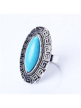 Vintage Style Turquoise Diamante Stone Alloy Ring