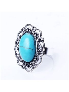 Simple Ellipse Design Turquoise Alloy Ring