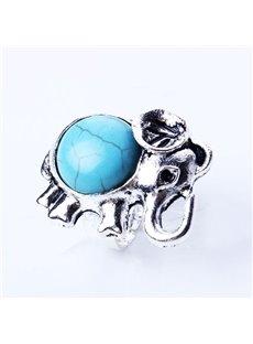 Amazing Elephant Design Turquoise Alloy Ring
