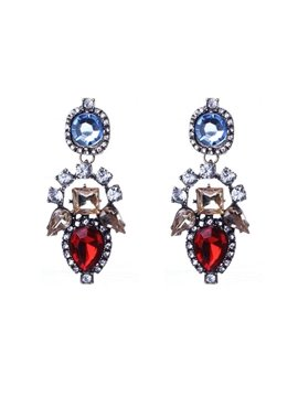 Sparking Diamante Stone Flower Design Earrings