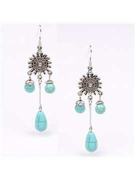 Amazing Flower Design Turquoise Pendant Earrings