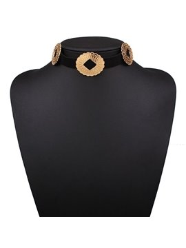 Simple Ellipse Design Black Choker Necklace