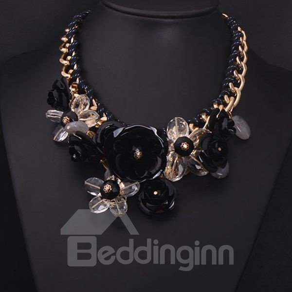 Modest Three Colors for Choose Flower-Grouped Alloy Chain Necklace