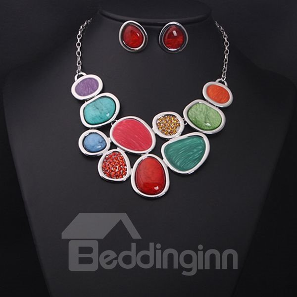 Fancy Colorful Natural Stone Statement Necklace