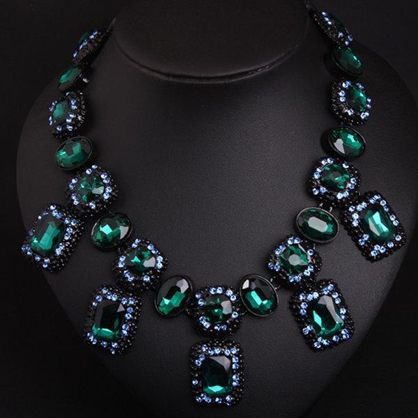 Amazing Square Gemstone Shape Statement Necklace