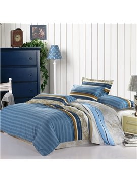 Concise Stripe Print Blue Cotton Fitted Sheet