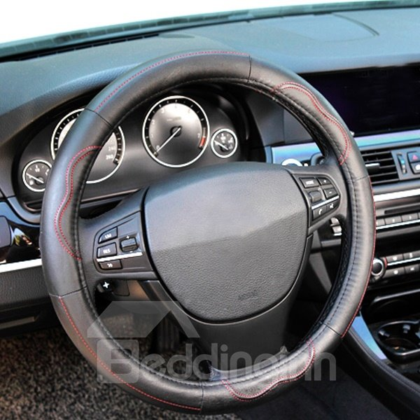 Unique Sewing And Cool Traces Anti-slip Leather Durable Medium Car Steering Wheel Cover