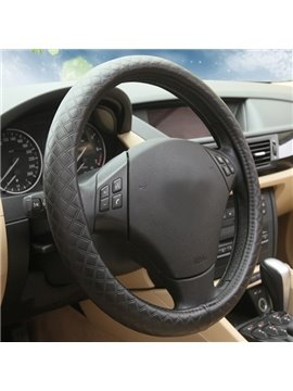 Bar-Shaped Grid surface Layer Pattern Leather Car Steering Wheel Cover