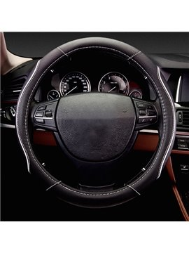 Decorative Fashion Lines With Sport Style Design Real Leather Car Steering Wheel Cover